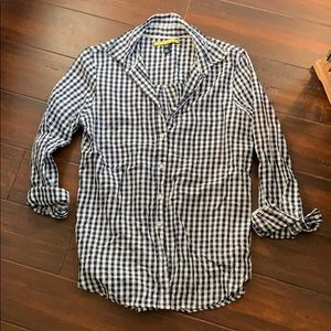 Navy Gingham button down blouse